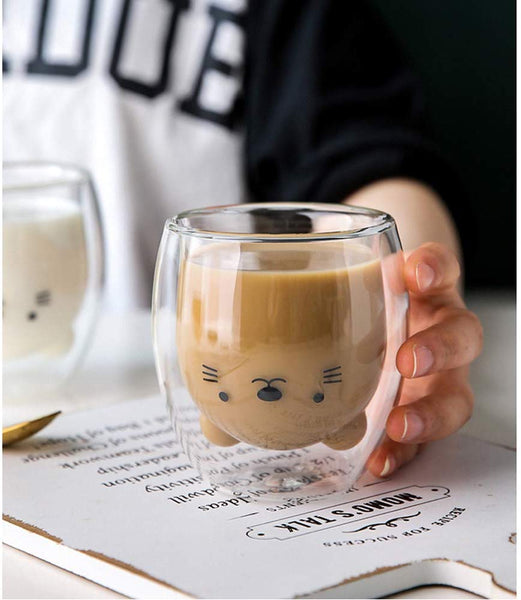 Creative Cute Bear Double-layer Coffee Mug Double Glass Cup Carton Animal Milk Glass Lady Cute Gift Christmas gift