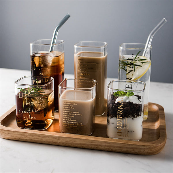 Creative Square Glass Mug Gold Letter Printing Breakfast Milk Coffee Cup Crystal Transparent Heat-resistant Cup Home Drinkware