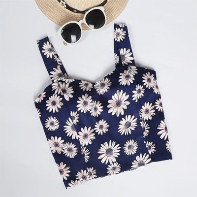 Crop Top Short Cami Tank Top Female Cute Floral Tube Women Tops Dill 2019 Black Sexy Cropped Tops Tank Women Feminino Bustier