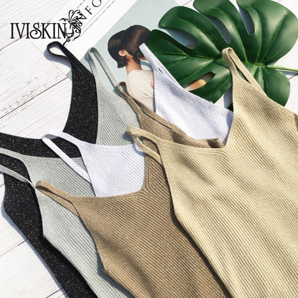Crop Tops Women Sexy Knitted Tank Tops Gold Thread Top Vest Summer Camisole Women White Tank Top Fitness Femme T shirt
