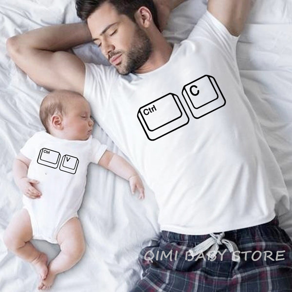 Ctrl C Ctrl V Family Matching T Shirt Man Son Daughter Dad T Shirt Tops Kids Baby Girl Boys Casual Bodysuit T Shirt  Family Look