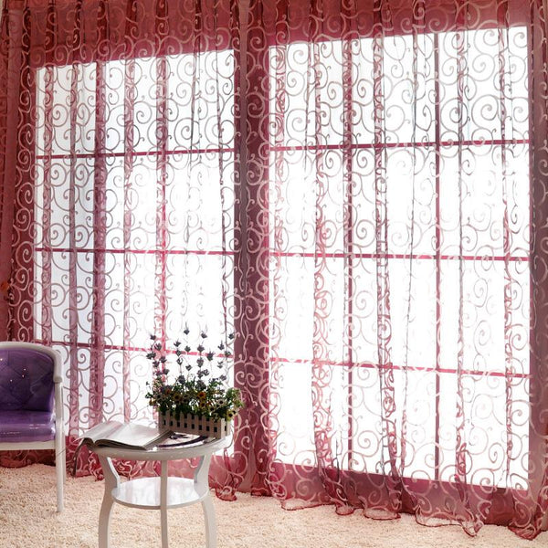 Curtain Fashion Floral Tulle Voile Door Window Curtains Drape Panel Sheer Scarf Valances