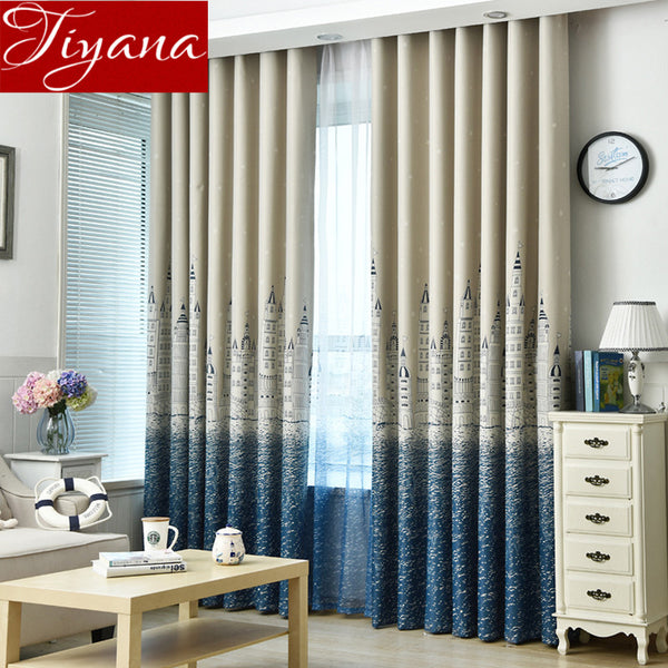 Curtain For Living Room Children Bedroom Cartoon Sea Castle Printed Voile Curtain kids Curtains Cloth Tulle Cortinas T&230 #20