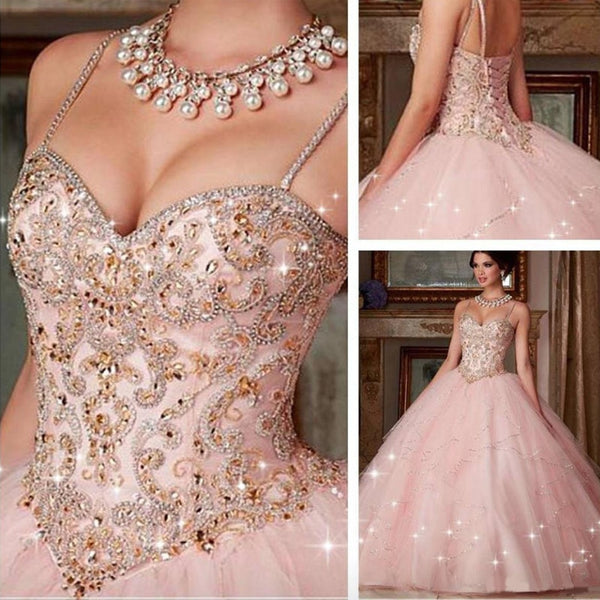 Custom Made New Quinceanera Dress New Pink Crystal Ball Gown Dresses For 15 16 Years Prom Party Dress