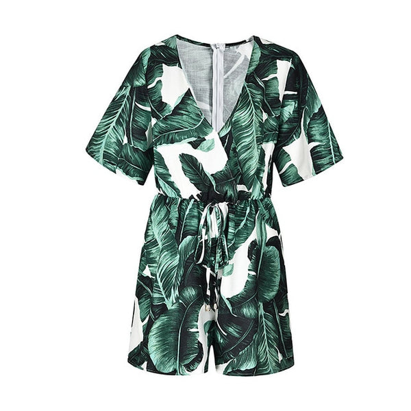 Deep V Neck Summer Bodysuits Women Green Leaves Print Beach Playsuit Female Short Overalls Jumpsuit Casual Boho Bodysuit