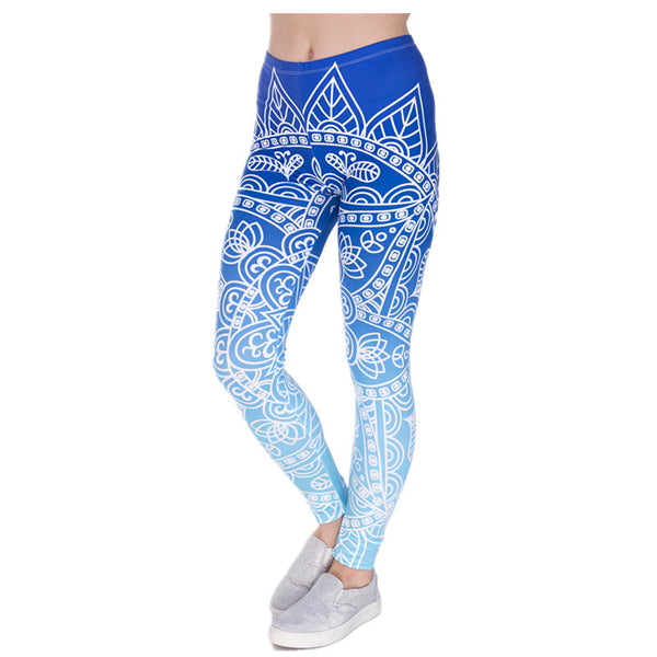 DDK5-4 High Quality Women Legins Mandala Ombre Blue Printing Legging Fashion Casual High Waist Woman Leggings