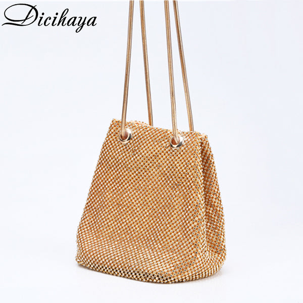 DICIHAY Women Small Shoulder Bags Lady Wedding Party Pouch Clutch Evening Bag Luxury Women Bucket Bag Handbags Diamond Bags