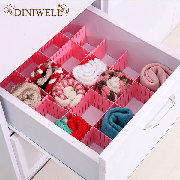 DINIWELL 4 PCS Plastic DIY Drawer Divider Separator Closet Tidy Organizer Storage Partition Free Combination