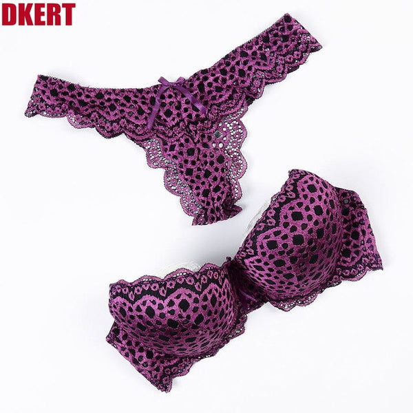 ABC G String Sexy Leopard Women Bra Set Hollow Out Push Up ABC Lace Thong Underwear Panty  Luxury Bra Brief Set K1393