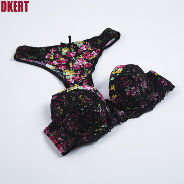 DKERT Sexy Lace Print Bra Brief Sets Push up Women's Underwear Set Bra Set ABC Lingerie Embroidery Floral Intimates Brassieres