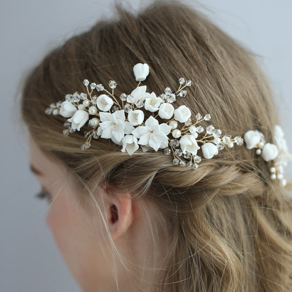 Delicate Clay Flower Bridal Hair Comb Handmade Wedding Hair Jewelry Bobby Pins Set Brides Hair Accessories