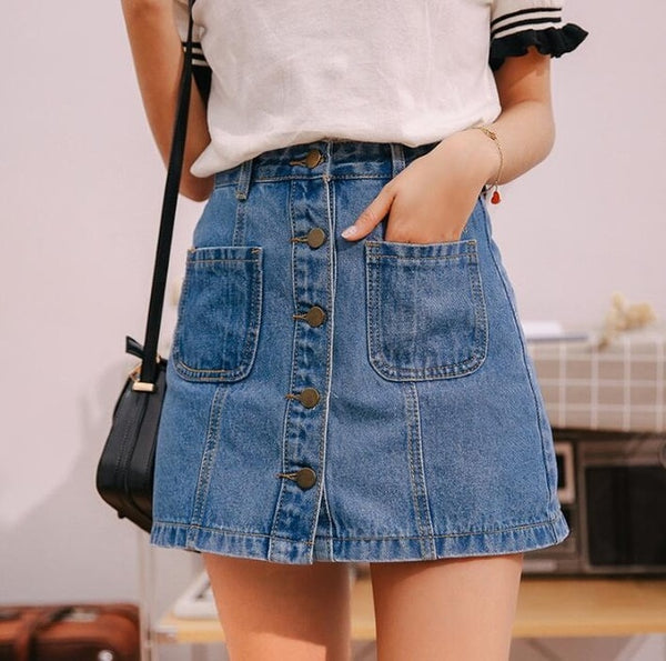 Denim Skirt High Waist A-line Mini Skirts Women Summer New Arrivals Single Button Pockets Blue Jean Skirt Style Saia Jeans