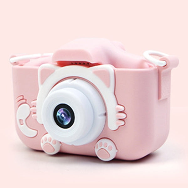 Dual Lens USB Charging 2 Inch HD Screen Cartoon Take Pictures Plastic Children Camera With Protective Case Birthday Gift Digital