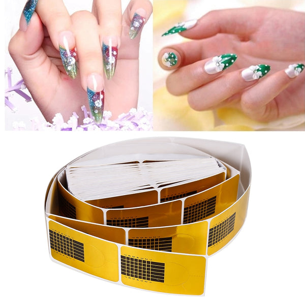 ELECOOL 100PCS Horseshoe Shape Professional Nail Art Tips Extension Forms Guide Stickers UV Gel Manicure Accessories