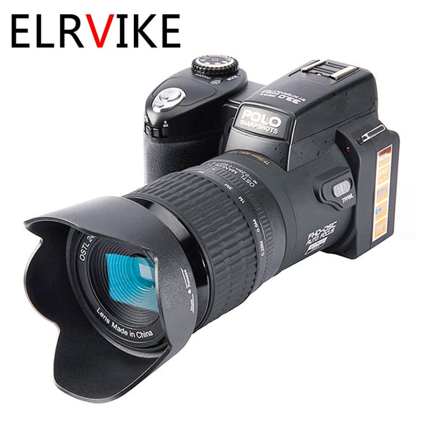 ELRVIKE Camera HD Digital Camera POLO D7100 33Million Pixel Auto Focus Professional SLR Video Camera 24X Optical Zoom Three Lens
