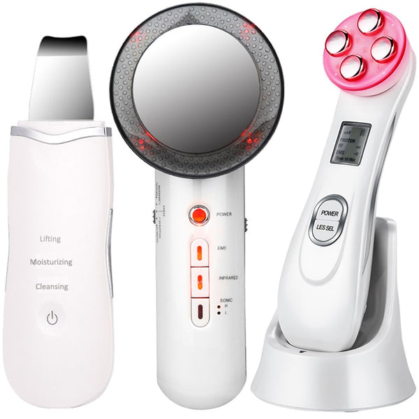EMS Mesotherapy RF Radio Frequency Facial Beauty + Ultrasoic Skin Scrubber Deep Face Cleaning + Infrared Body Slimming Massager