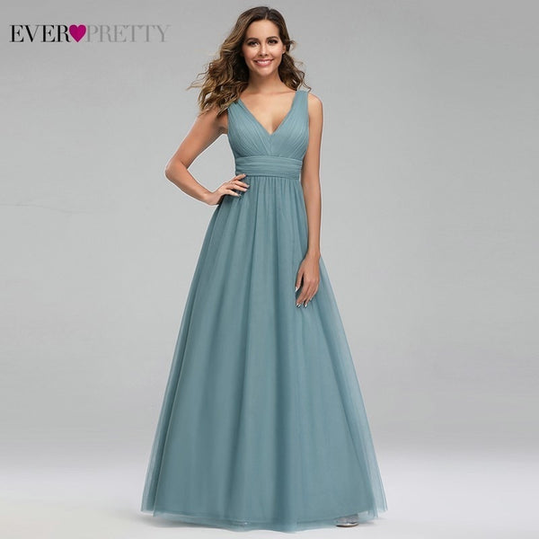 Elegant Dusty Blue Bridesmaid Dresses Ever Pretty EP00925DB A-Line V-Neck Tulle Sexy Wedding Guest Dresses Sukienka Wesele