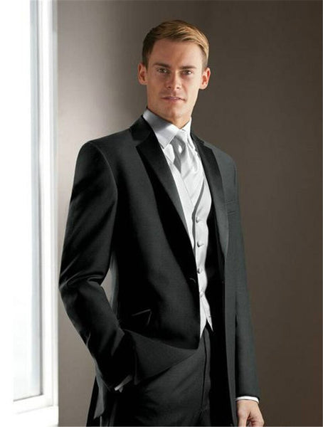 Elegant Groom's Wear Charcoal gray Notch Satin Lapel Tuxedo/Wedding Suits Best man's 3 Peices Suits( jacket+Pants+vest+tie)