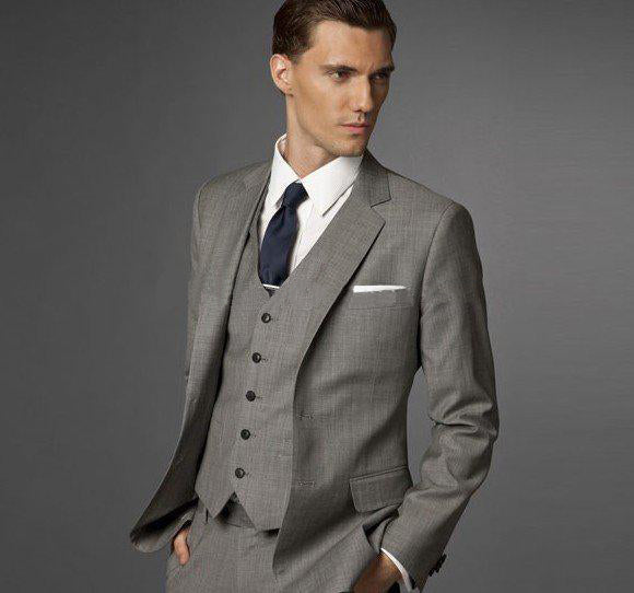 Elegant Groom's Wear Sliver Peak Lapel Tuxedo/Wedding Suits For Men/Best man's 3 Peices Suits( jacket+Pants+vest+tie)
