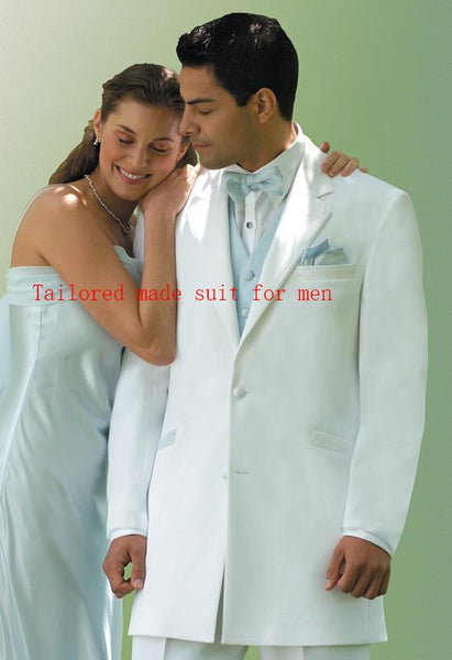 Elegant Groom's Wear Two button notch Lapel White Ivoly Tuxedo/Wedding Suits For Men/Best man's Suits( jacket+Pants+vest+tie)