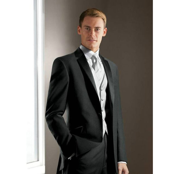 Elegant Groom's Wear black Notch Satin Lapel Tuxedo Wedding mens Suits Best man's 3 Peices men suit ( jacket+Pants+vest+tie)