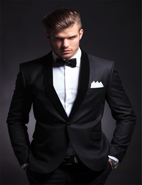 Elegant western wedding Groom's Wear Black Smoking Dinner jacket/Wedding Suits For Men/Best man's 3 Piece (Jacket+Pants+Bowtie)