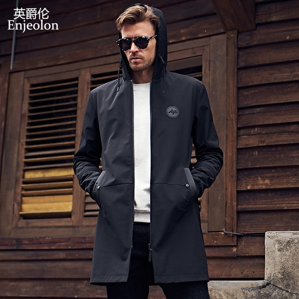 Enjeolon brand new hoodies long trench coat men clothing Quality male black trench coat windbreaker jacket plus size 3XL JK0419