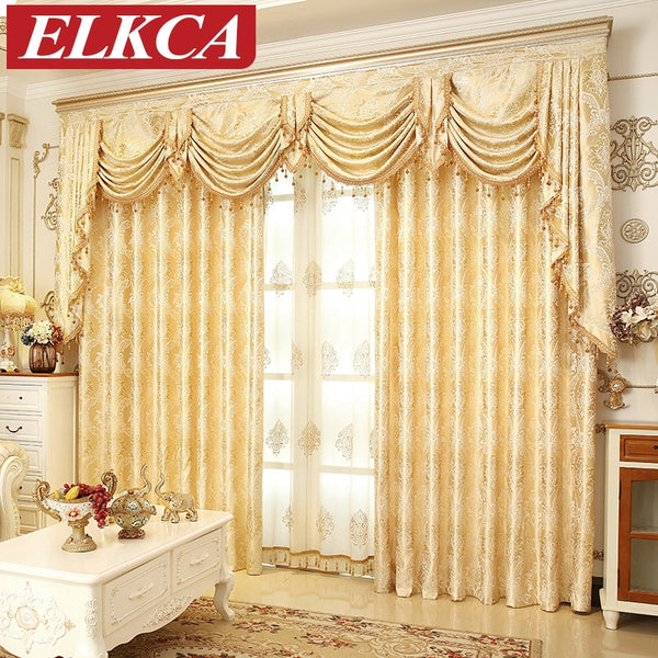 European Golden Royal Luxury Curtains for Bedroom Window Curtains for Living Room Elegant Drapes European Curtains