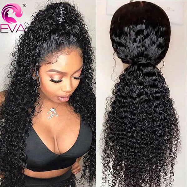 Eva Hair Curly Lace Front Human Hair Wigs Pre Plucked With Baby Hair Glueless Lace Front Wig For Black Women Brazilian Remy Hair