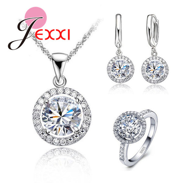 Exquisite Women Wedding Necklace Earring Ring Jewelry Set 925 Sterling Silver Zircon Crystal Jewelry Set