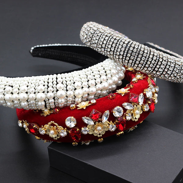 Exquisite and exquisite fashion pearl rhinestone flower headband Baroque heavy industry fashion wild rhinestone headband 792