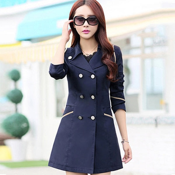 FIONTO Spring Autumn Trench Coat - Turn Down Collar Casual Trench Coat Women Solid Long Slim Double Breasted Coats A034-1