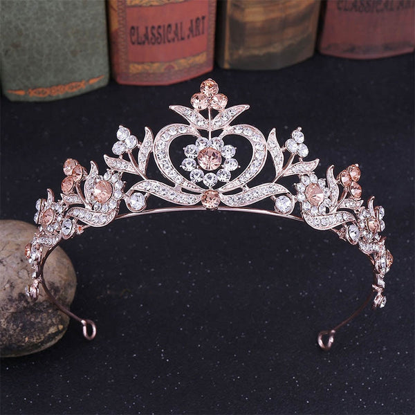 FORSEVEN Vintage Baroque Gold Color Shining Crystal Flower Tiaras Crowns de Noiva Women Bride Wedding Hair Jewelry Accessories