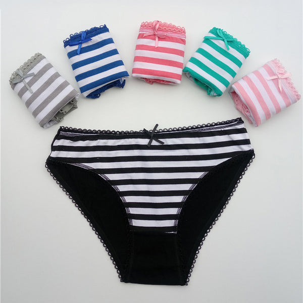 FUNCILAC 5 Pcs/set Women's Underwear Cotton Sexy Lace Panties Striped Briefs Everyday Lingerie Girls Ladies Knickers Size M L XL