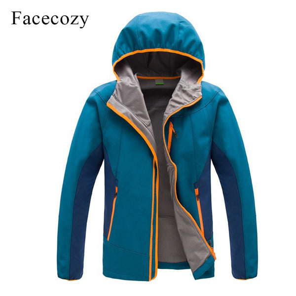 Facecozy Men's Outdoor Autumn Breathable Patchwork Hiking Softshell Jacket Hooded Thermal Fishing Coat