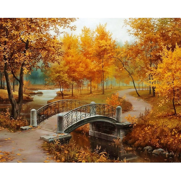 Fall Landscape Full Round Drill Mosaic 5D DIY Embroidery Diamond Painting Cross Stitch Kits Room Decor Wall Stickers