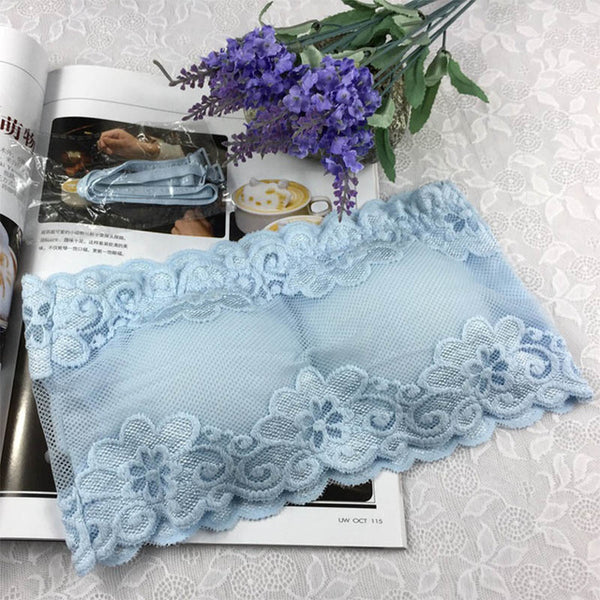 Fashion 5 Colors Solid One Size Lace Floral Full Cup Strapless Wire Free Wrapped Chest Female Bras With Straps