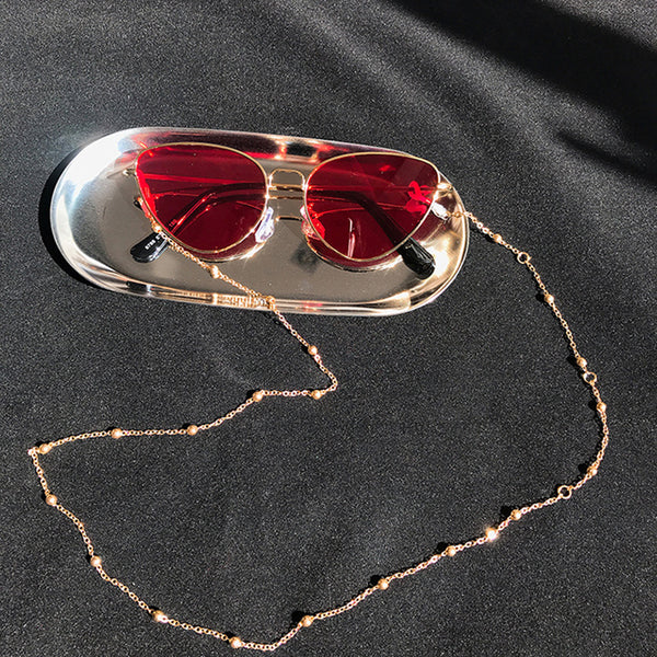 Fashion Copper Womens Gold Silver Eyeglass Chains Sunglasses Reading Beaded Glasses Chain Eyewears Cord Necklace Strap Rop