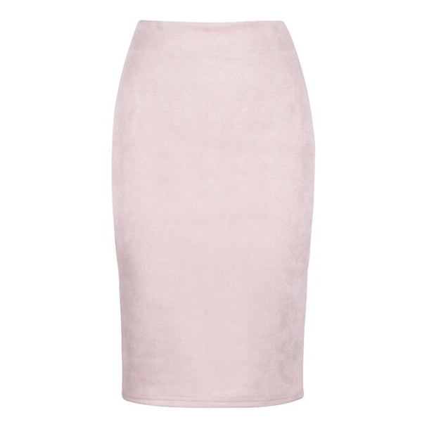 Fashion Empire Skirts - Spring Faux Suede Pencil Skirt High Waist Bodycon Split Thick Stretchy Skirts
