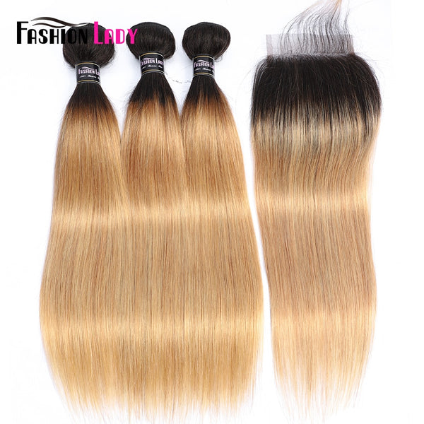 Fashion Lady Ombre Blonde Brazilian Hair 3 Bundles With Closure Pre-Colored 1B/27 Straight Weave Human Hair Bundles Non-Remy