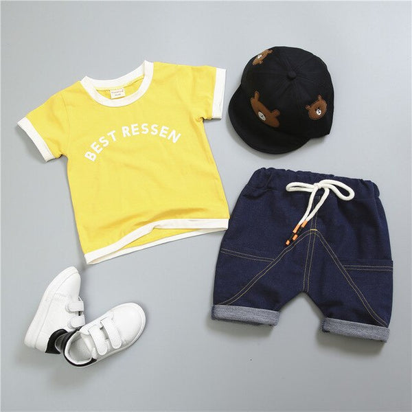 Fashion Summer Children Boys Girls Clothes Kids Cotton Letter T-Shirt Short 2Pcs/Sets Toddler Clothing Sets Infants Tracksuits
