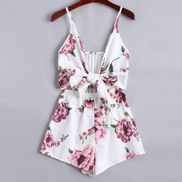 Fashion Women Deep V-Neck Print Sleeveless Sling Loose Jumpsuit Playsuits With Lace Up Summer