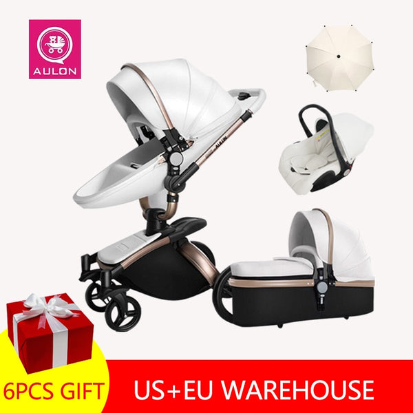 Fast Shipping Free Shipping Aulon Luxury Baby Stroller 3 in 1 High land-scape  Fashion Carriage European design Pram  on