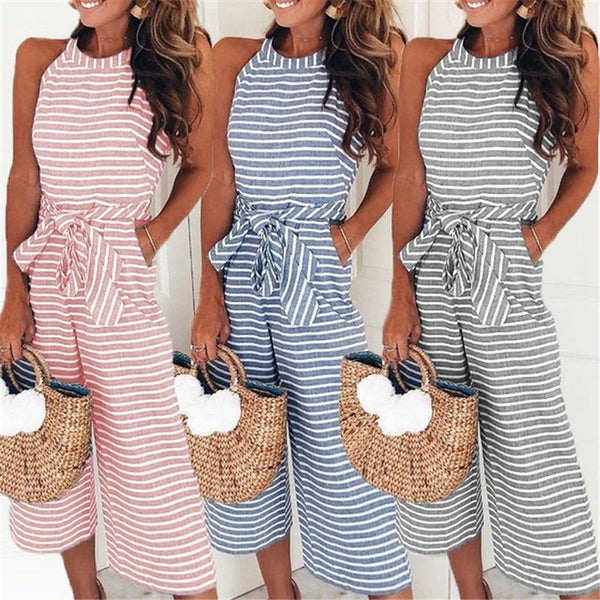 Feitong Women Summer O-neck Bowknot Pants Playsuit Sashes Pockets Sleeveless Rompers Overalls Sexy Office Macacao Feminino