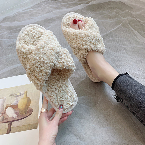 Fleeces Women Slippers Fashion Cross Shape Warm Shoes Woman Slip on Flats Female Slides Indoor Shoes