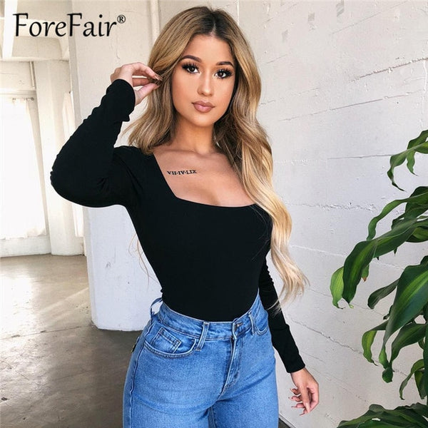 Forefair Women Body Top Skinny Sexy Bodysuit Autumn Winter Ladies Black Red White Slim Square Collar Long Sleeve Bodysuit