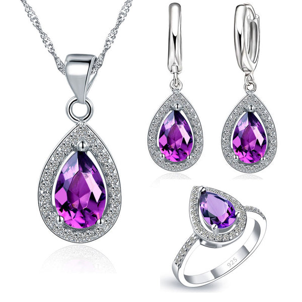 Free Ship Purple Jewelry Sets Water Drop Cubic Zirconia CZ Stone 925 Sterling Silver Earrings Necklaces Finger Rings