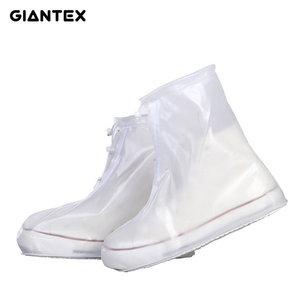GIANTEX Men Women's Rain Waterproof Flat Ankle Boots Cover Heels Boots Shoes Covers Thicker Non-slip Platform Rain Boots S0154