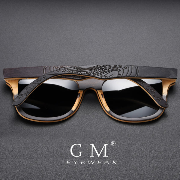 GM Brand Designer wood Sunglasses New Men Polarized Black Skateboard Wood Sunglasses Retro Vintage Eyewear Dropshipping S5832