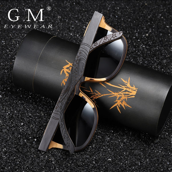GM Luxury Skateboard Wood Sunglasses Vintage Black Frame Wooden Sunglasses Women Polarized Men's Bamboo Wood Sunglasses S5832